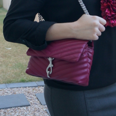 Rebecca Minkoff Edie small crossbody bag in magenta pop of colour with black blouse | awayfromtheblue