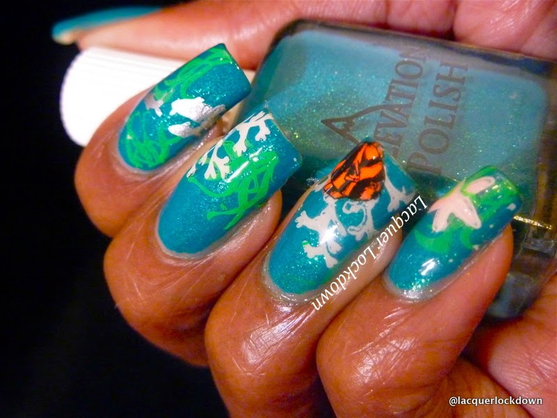 Lacquer Lockdown - Elevation Polish, Elevation Polish Sea Collection, diy nail art, cute nail art ideas, easy nail art, stamping, nail art stamping, advanced stamping, decal method, nail art stamping blog, Winstonia W01, ocean inspired nail art, aquarium nails, nail art,