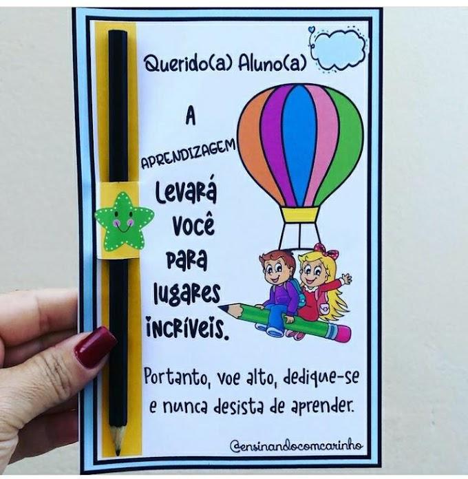 Cartão balão com tema aprendizagem
