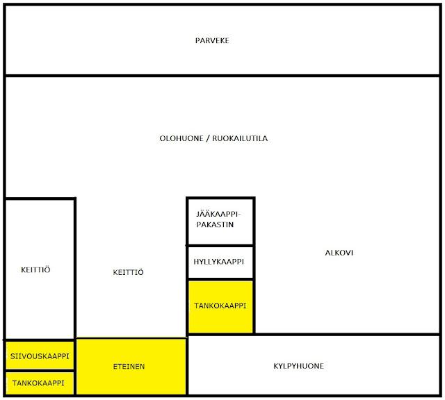 Pohjapiirustus, jossa asunnon eteisen tilat eroteltuna keltaisella värillä