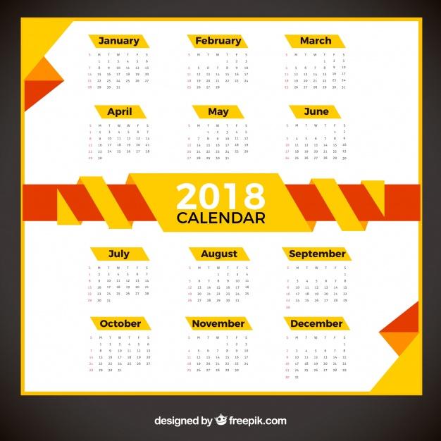 calendarios 2018 gratis color amarillo para imprimir