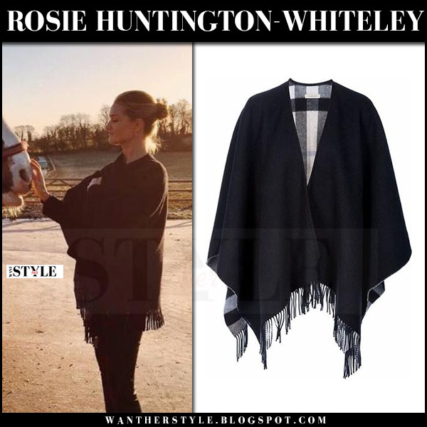 Rosie Huntington-Whiteley in black fringe cape burberry colette what she wore