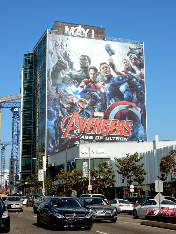 Giant Avengers Age of Ultron film billboard