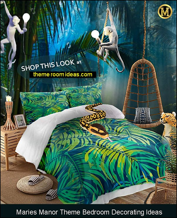 jungle rainforest bedroom jungle mural jungle leaves bedding monkey lamps tiki torch lighting