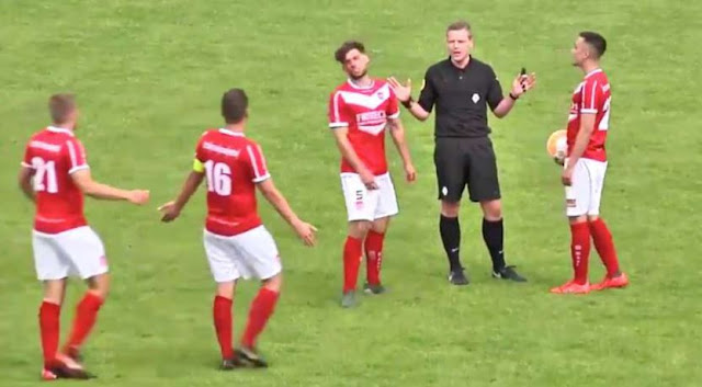 Referee accidentally scores goal in football game - has no choice but to allow it (VIDEO)