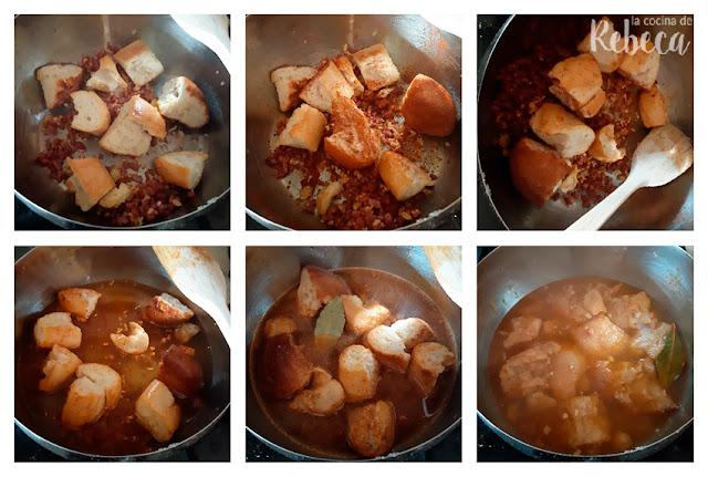 Receta de sopa de ajo o sopa castellana: añade el pan y el caldo