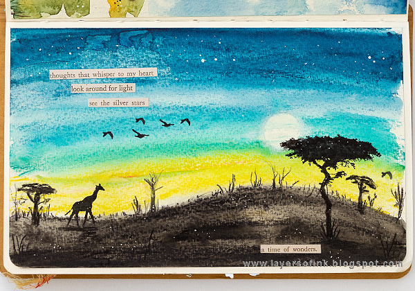 Layers of ink - African Night Watercolor Tutorial by Anna-Karin Evaldsson.