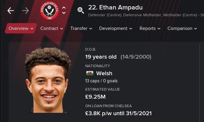 Ethan Ampadu FM21 Football Manager 2021 Wonderkid