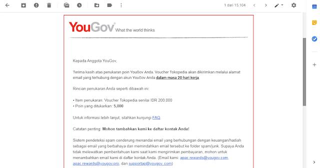 Bukti Penukaran Saldo Ovo Points Gratis dari Yougov Survei Online