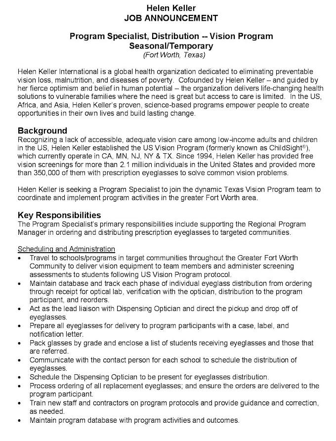 Jobs in Spain for Program Specialist
