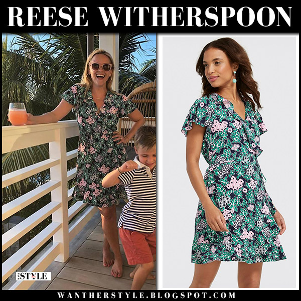 Reese Witherspoon in green floral print dress draper james spring summer fashion june 5