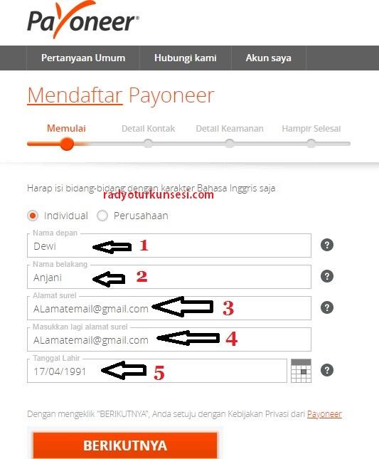 cara daftar payoneer