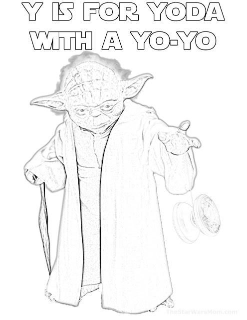 Y is for Yoda and yo-yo - Star Wars Alphabet Coloring Page