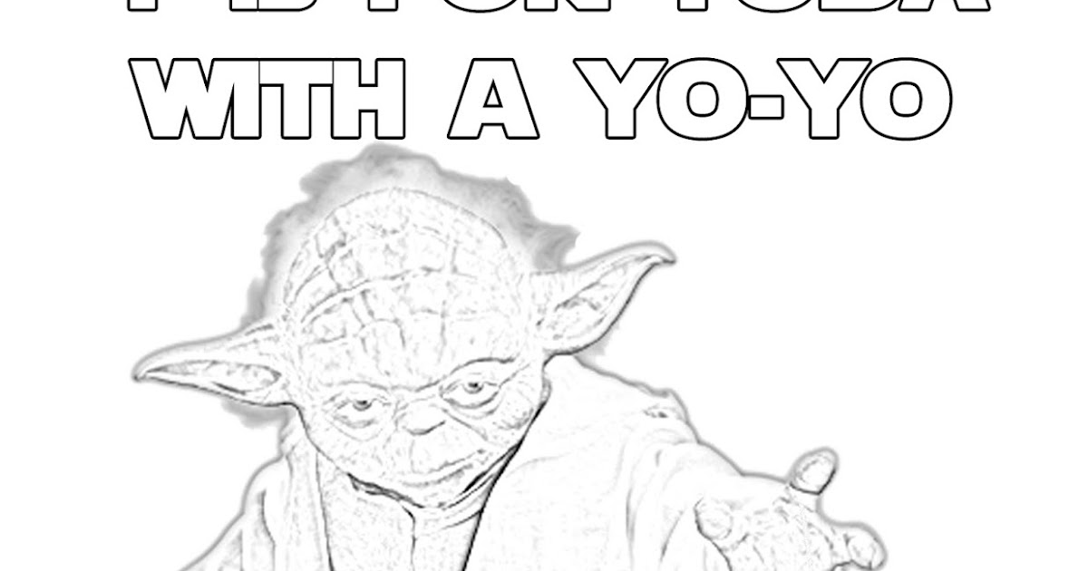 Y is for Yoda With a Yo-Yo - Star Wars Alphabet Coloring Page - The Star Wars Mom