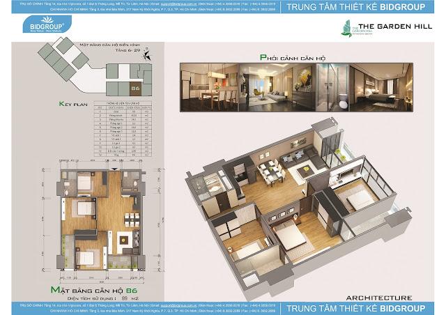 Căn hộ B6 tầng 6-29, diện tích 89m2