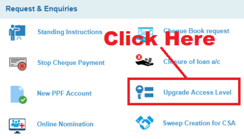 upgrade access level sbi not showing