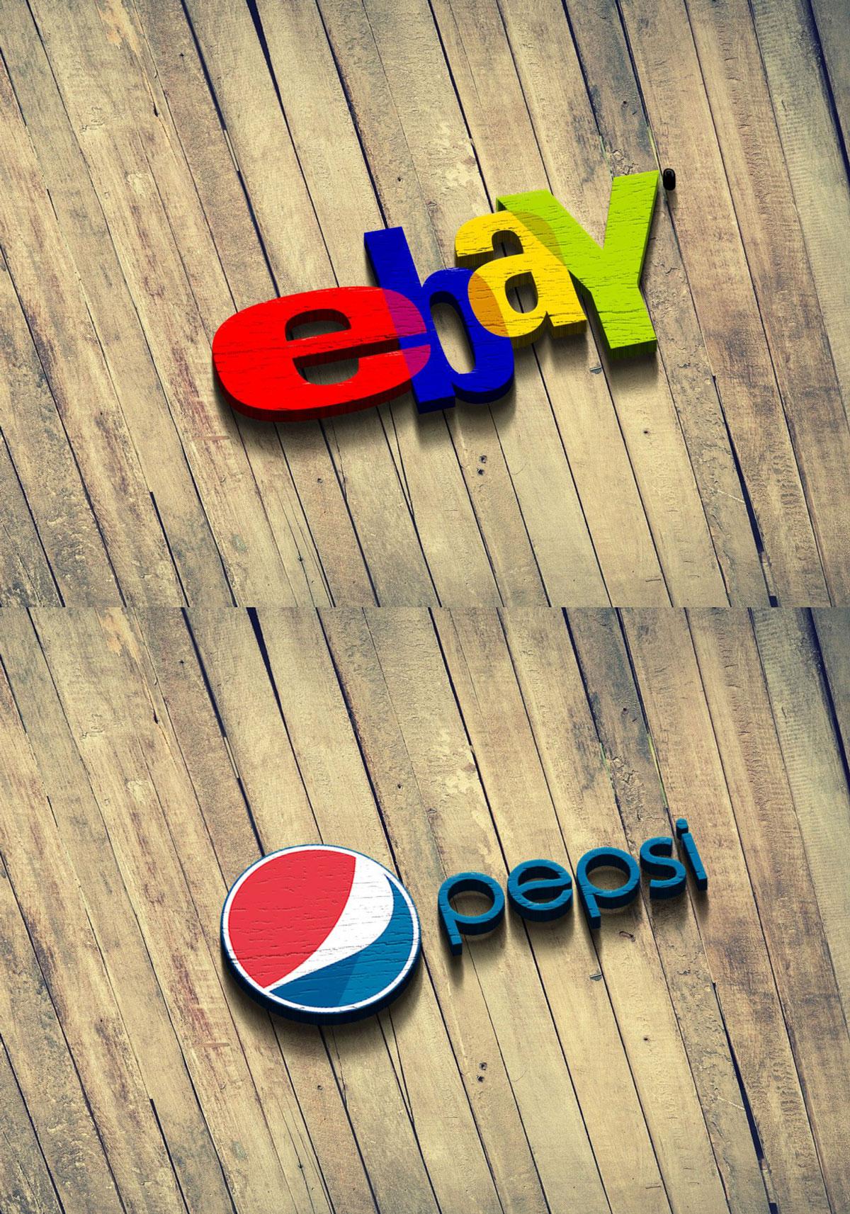 Free Wood Fence 3D Logo Mockup Download