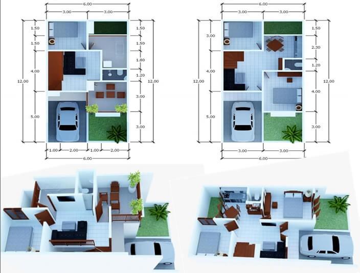 Denah Rumah Minimalis Modern 3 Kamar