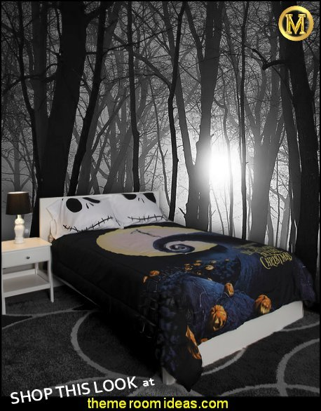The Nightmare Before Christmas bedding spooky trees wall mural halloween bedrooms  haunted forest bedroom ideas haunted mansion decorating