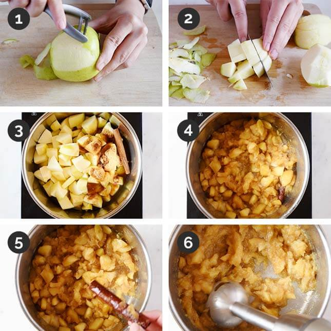 Step-by-step photos of how to make applesauce