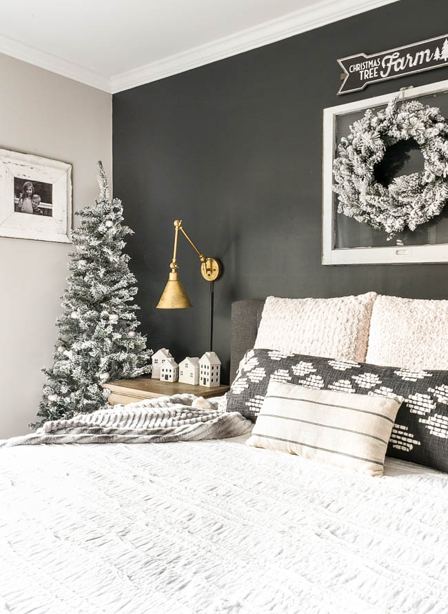Neutral holiday bedroom decor