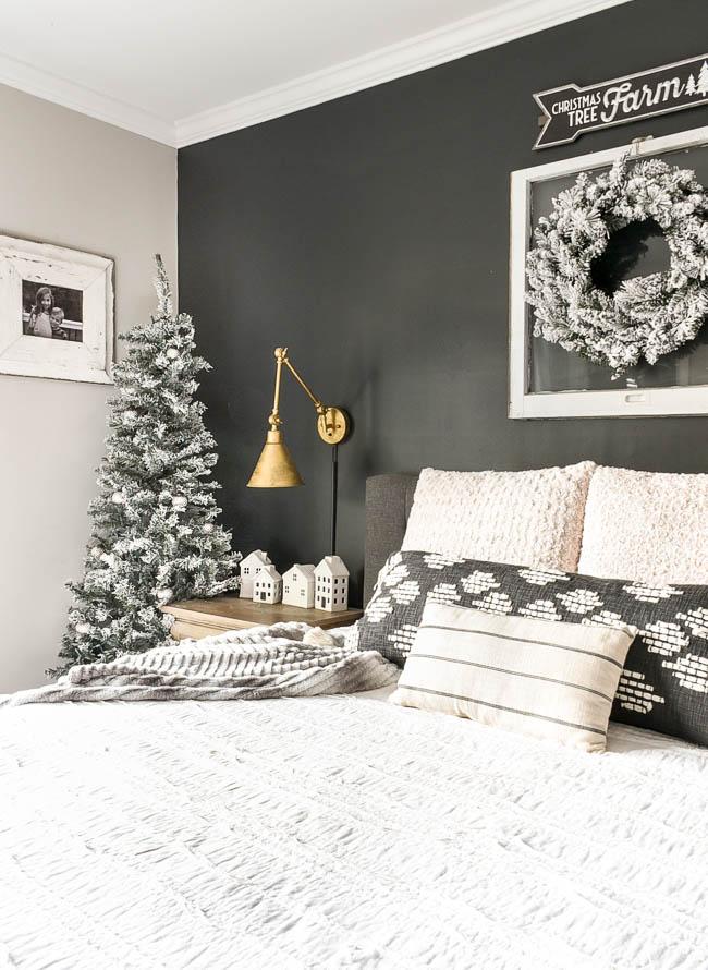 Neutral holiday bedroom decor