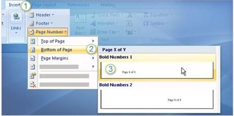 how to put header and page number in word 2007