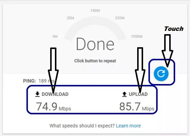 Speed test mobile download