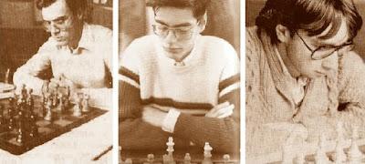 Los ajedrecistas Manuel Simón, Fèlix Romero y Sergi Picatoste