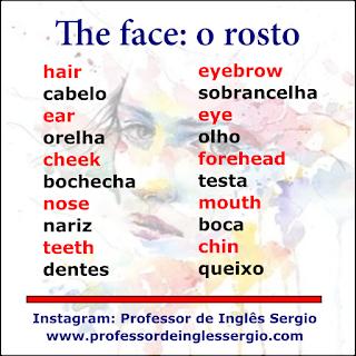 Vocabulário: o rosto em inglês
