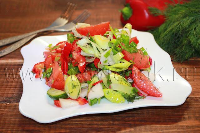 рецепт овощного салата с зеленью