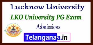 Lucknow University PG MA M.Com M.Sc M.Ed Admissions