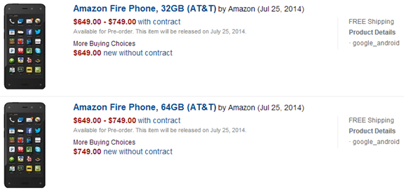 Amazon Fire Phone Price Details