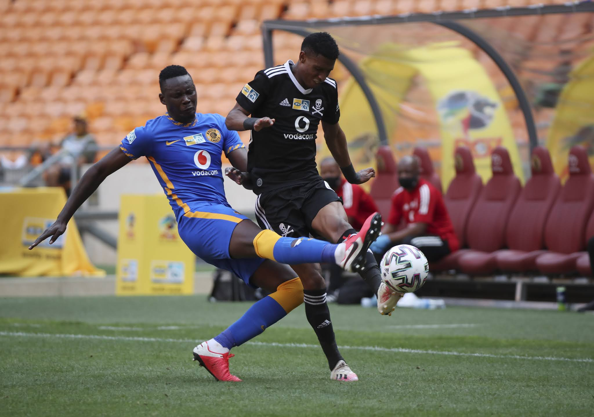 Eric Mathoho and Vincent Pule in action during the previous Soweto Derby