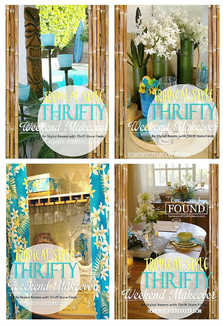 #MAYkeovers, decorating, DIY, entertaining, outdoors, re-purposing, room makeovers, summer, thrifted, tiki style, vintage, weekend makeover, tropical style, diy decorating, coastal style, blog series