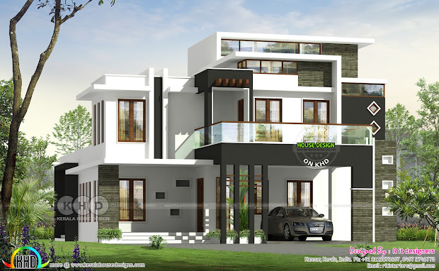 3 Bhk Contemporary House Plan Architecture - Kerala Home