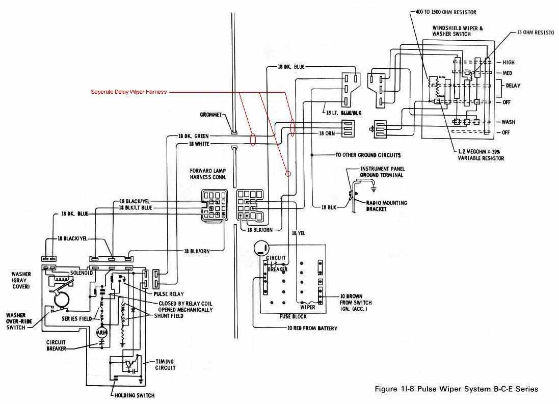 Buick B-C-E Series 1974 Pulse Wiper System Wiring Diagram