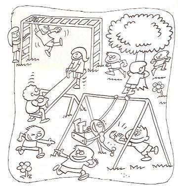 Imagem Criancas Brincando No Park Desenhos Para Colorir