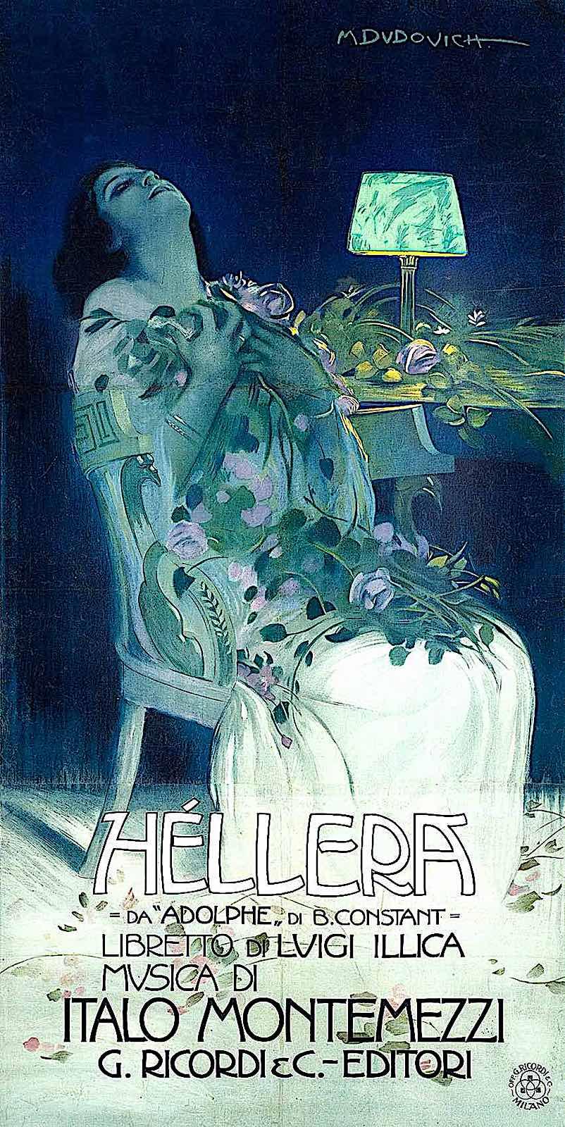 """a Marcello Dudovich poster illustration for the Polish opera """"Hellera"""""""
