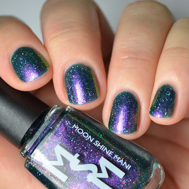 teal based multichrome nail polish swatch