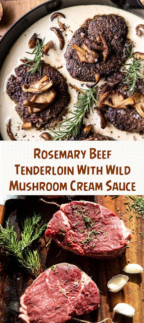 Rosemary Beef Tenderloin With Wild Mushroom Cream Sauce