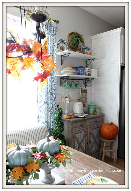 Fall- Decor -Cottage- Style -Farmhouse -Style Breakfast- Nook-Jadeite-Pumpkins-From My Front Porch To Yours