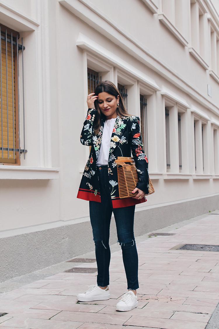 americana flores outfit  bolso madera blog de moda