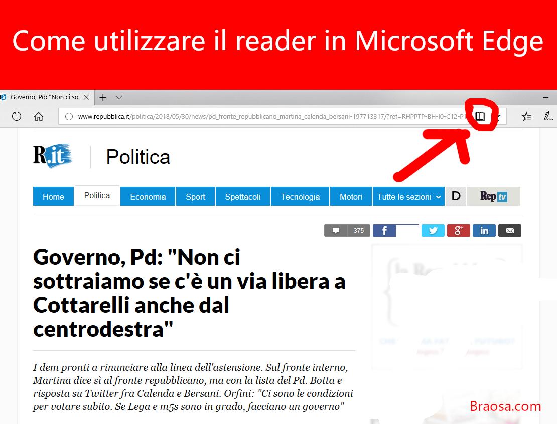 Come utilizzare la vista di lettura in Microsoft Edge