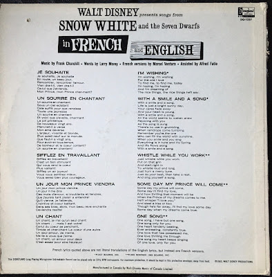 Walt Disney Presents songs from Snow White and the Seven Dwarfs in French and English