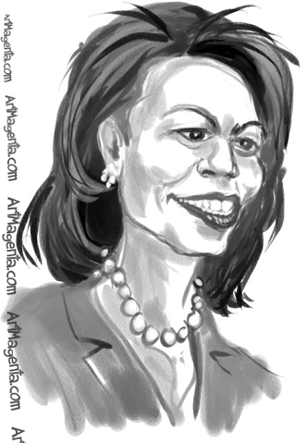 Condoleezza Rice  caricature cartoon. Portrait drawing by caricaturist Artmagenta