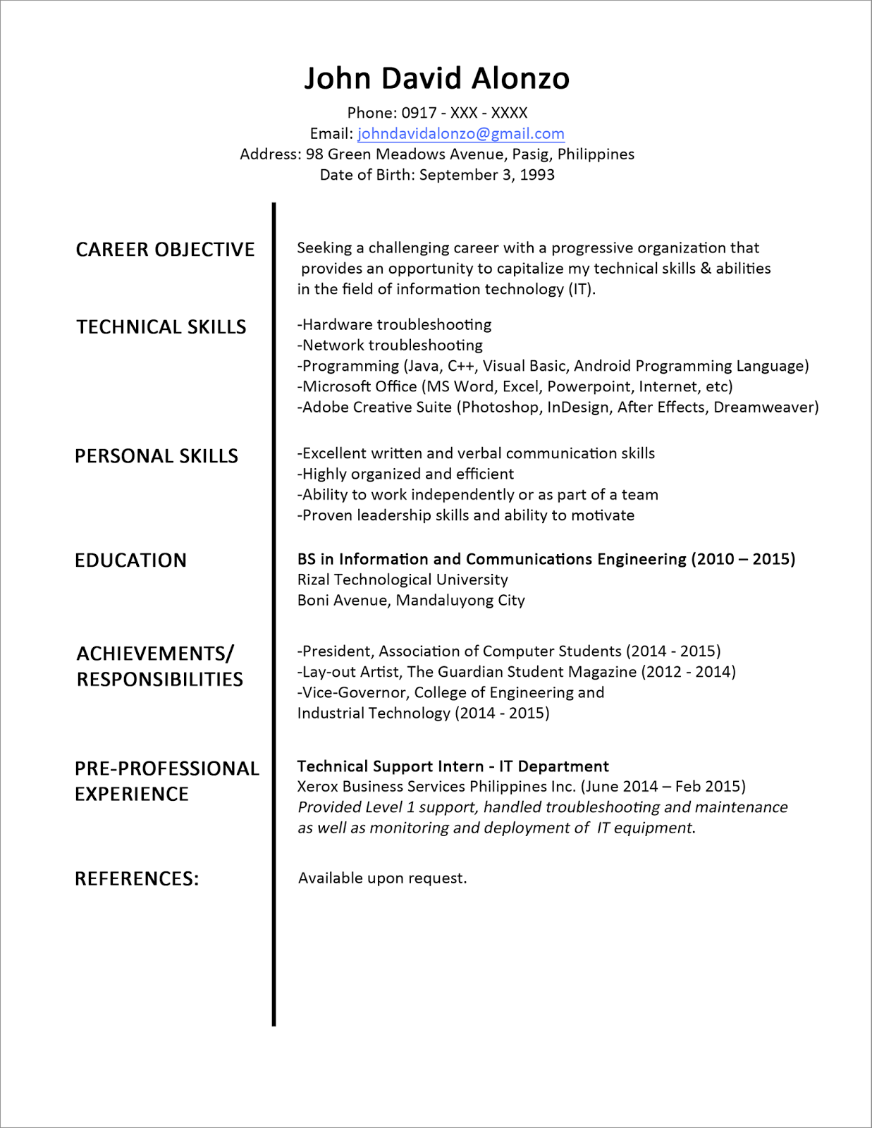 sample resume format for beginners