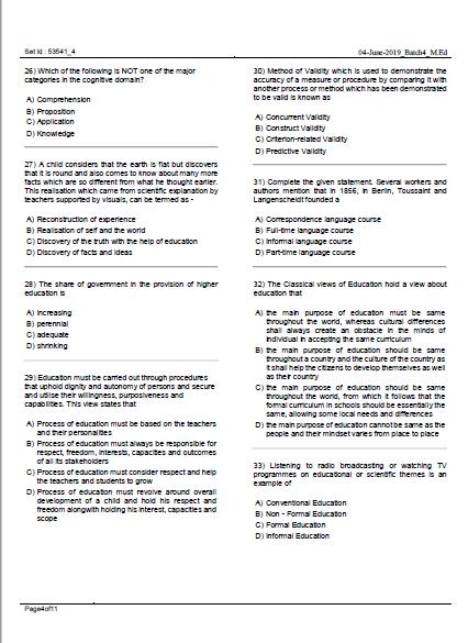 LPU M.ed Entrance Questions Paper PDF Download