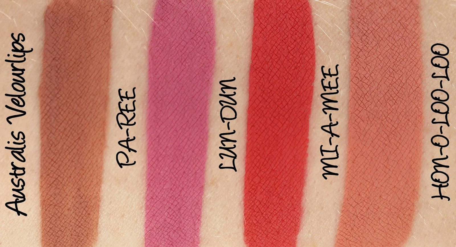Australis Velourlips Matte Lip Cream - PAR-EE, LUN-DUN, MI-A-MEE and HON-O-LOO-LOO Swatches & Review