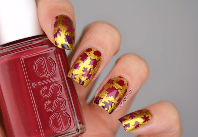 Fall Leaves Gradient Nail Art